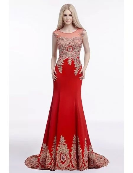 2018 Fit And Flare Red Prom Dress Long With Applique Lace