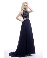 2018 Elegant Navy Blue Prom Dress Long With Glitter ...