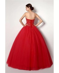 Cheap Ball Gown Red Formal Dress With Beading For ...