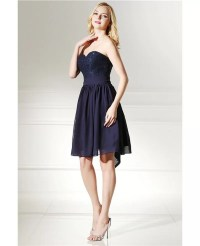 Simple Navy Blue Short Bridesmaid Dress Strapless With ...