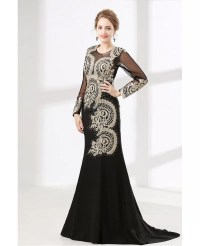 Petite Black Long Sleeved Formal Dress With Applique Lace ...