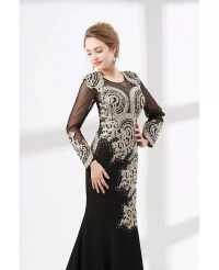 Petite Black Long Sleeved Formal Dress With Applique Lace