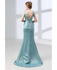 Fitted Trumpet Satin Formal Dress Backless For Mature ...