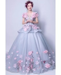 Junior's Grey With Pink Floral Prom Dress With Big Ball