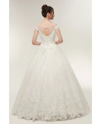 Princess Lace Corset Ball Gown Wedding Dress with Cap ...