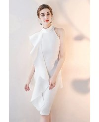 Elegant White Ruffled Sheath Cocktail Dress Short Halter #
