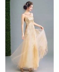 Sparkly Champagne Fitted Long Prom Dress Sleeveless With ...