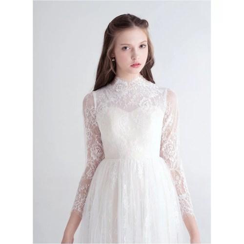 Medium Crop Of High Neck Wedding Dress