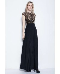 Elegant A-Line Black Long Formal Dress With Lace Top # ...