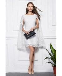 Fashionale A-Line White Lace Short Wedding Party Dress # ...
