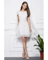 Fashionale A-Line White Lace Short Wedding Party Dress # ...