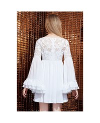White Lace Chiffon Short Dress With Long Sleeves -GemGrace