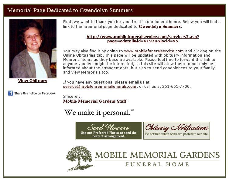 Gemini Graphics Inc Web, Mobile, Print Funeral Home Service - funeral announcement sample