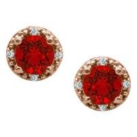 Round Cut Ruby Birthstone Diamond Rose Gold Stud Earrings ...