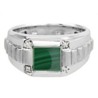 Men's Square Malachite Gemstone Diamond White Gold Ring
