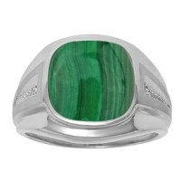 Diamond and Green Malachite Men's Large Ring In Sterling