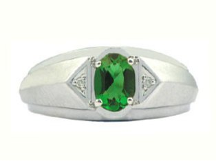 Emerald & Diamond Men's White Gold Oval Ring