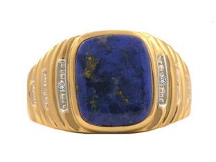 Yellow Gold and Diamond Mens Lapis Lazuli Ring