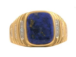 Yellow Gold and Diamond Mens Lapis Lazuli Ring