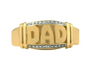 Yellow Gold and Diamond Dad Ring
