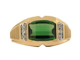 Barrel Cut Emerald and Diamond Ring For Men