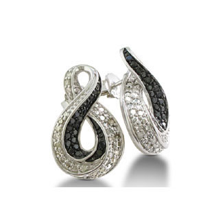 Black And White Diamond Earrings In Sterling Silver