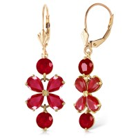 5.32 CTW 14K Solid Gold Chandelier Earrings Natural Ruby ...