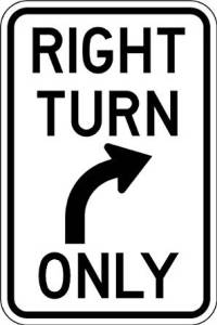 Right Turn Only Road Sign