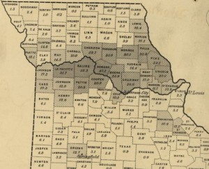 Missouri's Little Dixie - Slavery Population Density Map