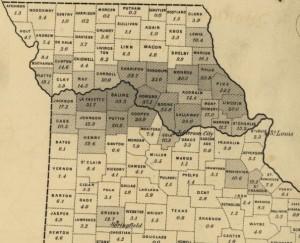 Missouri's Little Dixie - Slavery Population Density Map