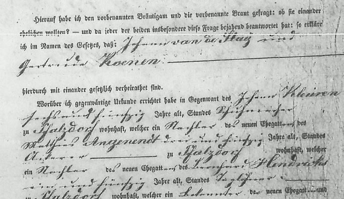 Vanderstay - Koenen 1853 German Marriage Record