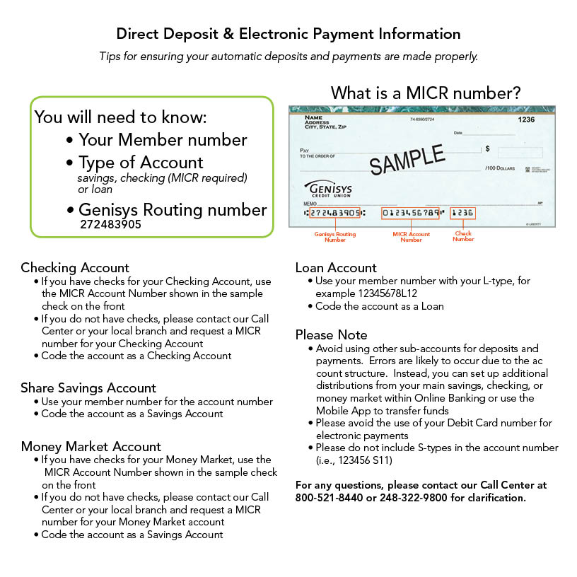 Direct Deposit  Electronic Payments - Genisys® Credit Union