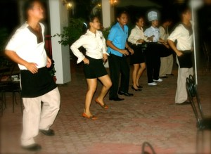 Pablo's Steaks and Crabs Dancing Cooks and Waiters