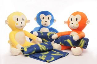 Huggable monkey stuffed toys with playful blankets exclusive at Toy Kingdom.