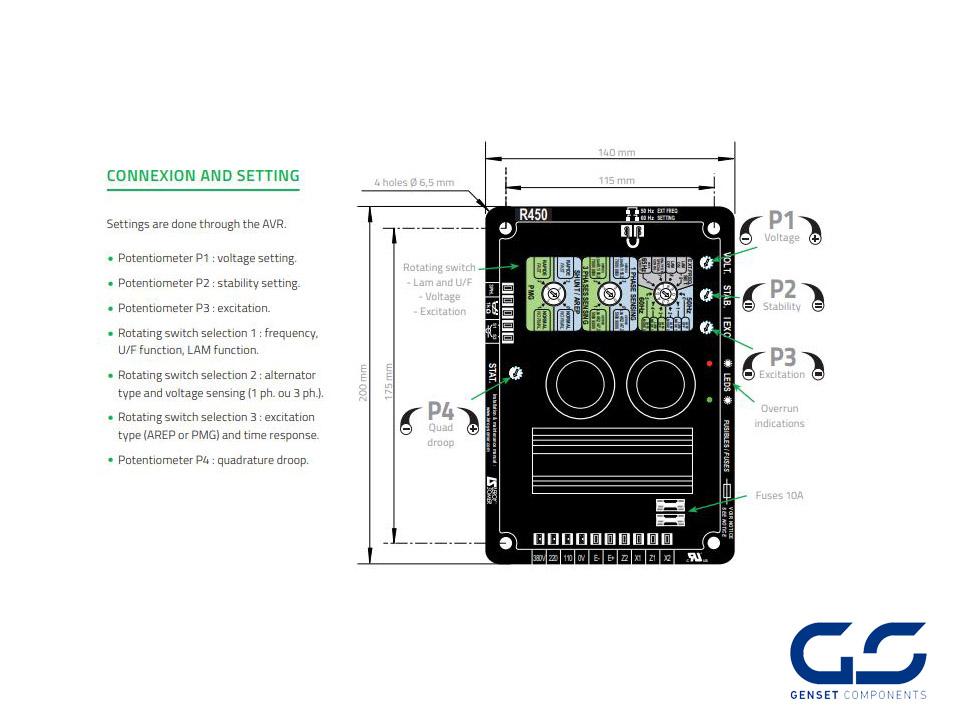 Electronic Regulator R438 Leroy Somer - GENSET COMPONENTS - Genset