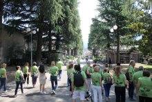 Il gruppo percorre il fianco del Cimitero monumentale di Trento alla ricerca di piante officinali