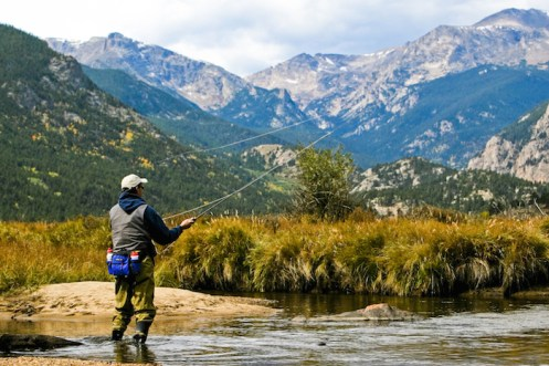 A fly-fisher in Rocky Mountain National Park