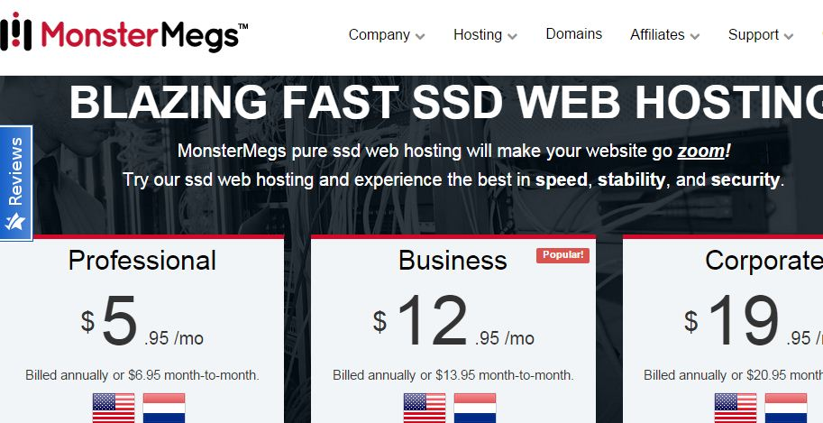 MonsterMegs SSD Web Hosting Reviews