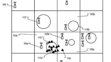 Grafický popis metody určování polohy - příklad z patentové přihlášky