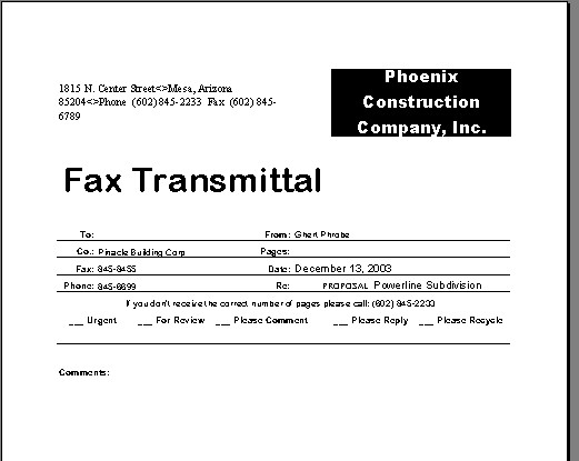 Fax Transmittal Form – Transmittal Form
