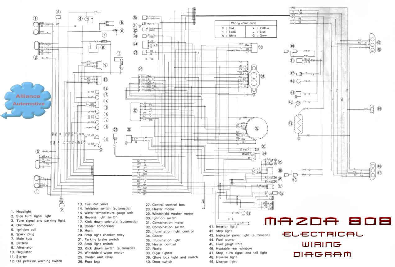 mazda rx3 wiring diagram and electrical schematic