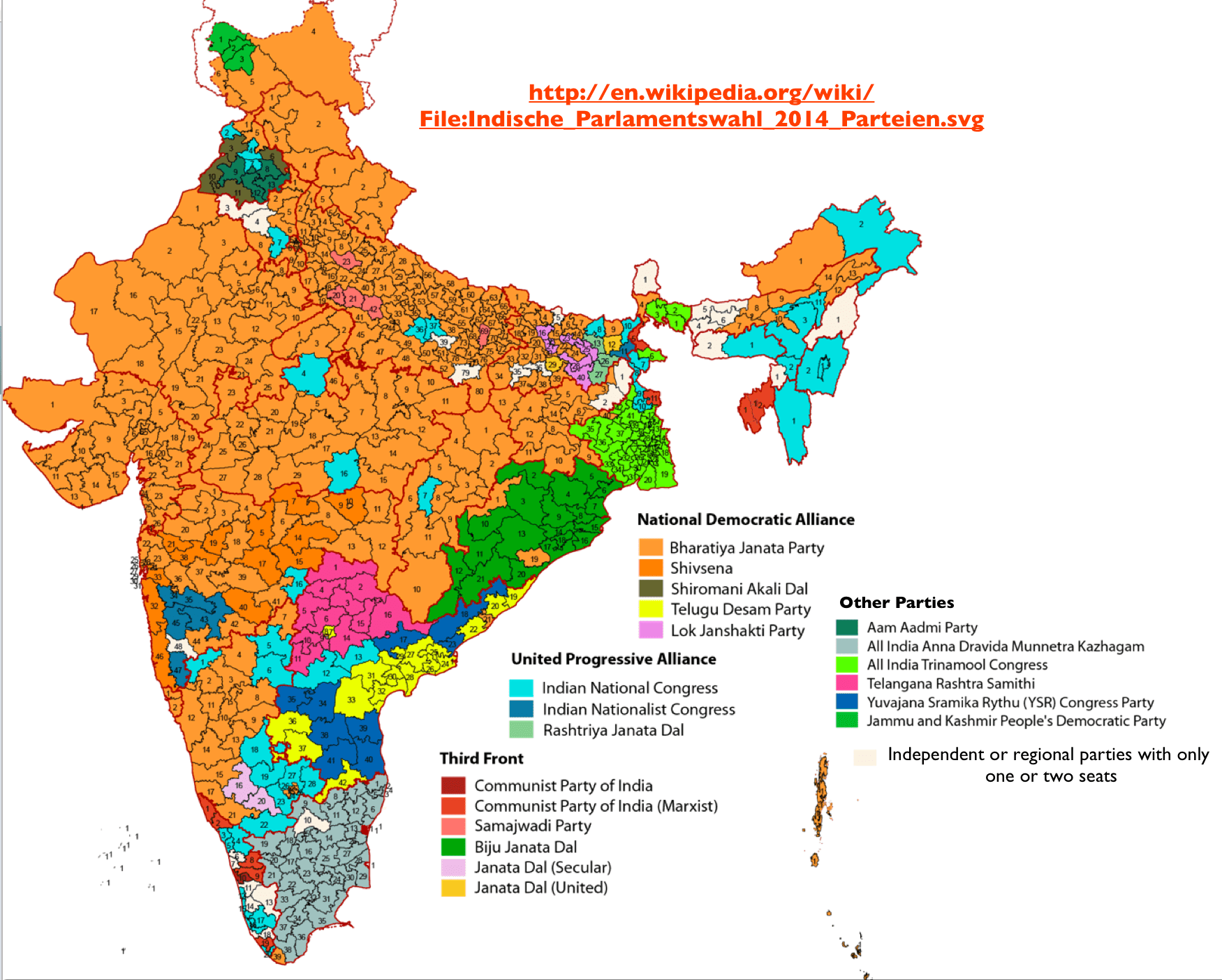 2014 Indian Election Map
