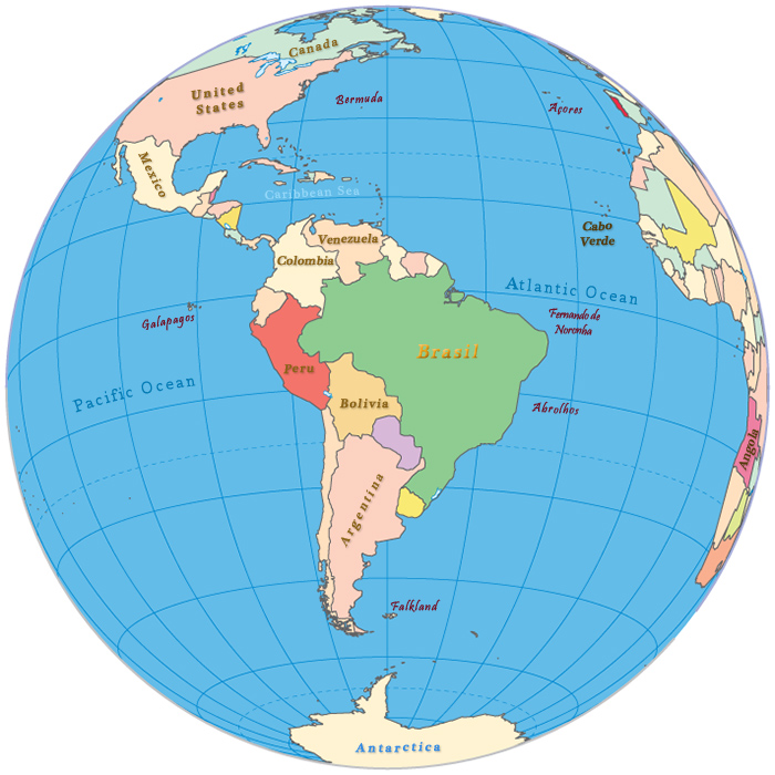 American Continent - South America in the Globe
