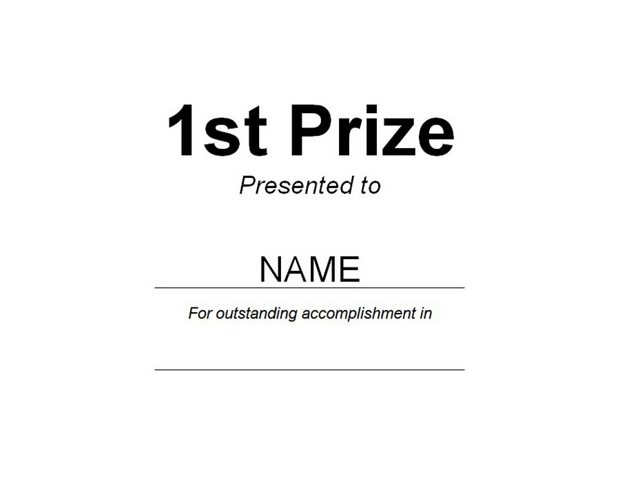1st Prize Award Free Word Templates Customizable Wording - prize voucher template