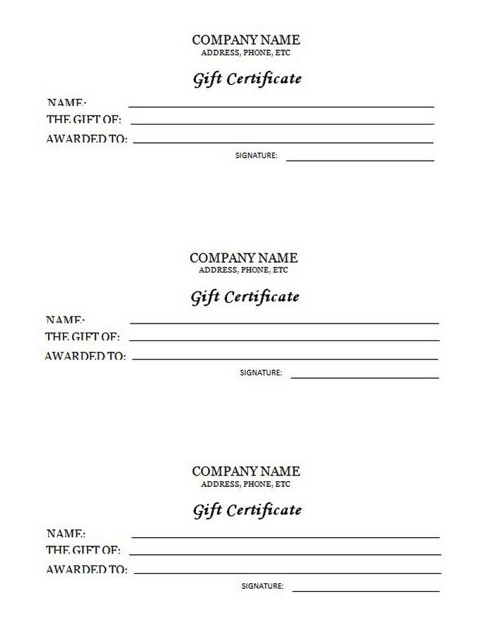 3 UP Gift Certificate Free Templates Clip Art  Wording Geographics