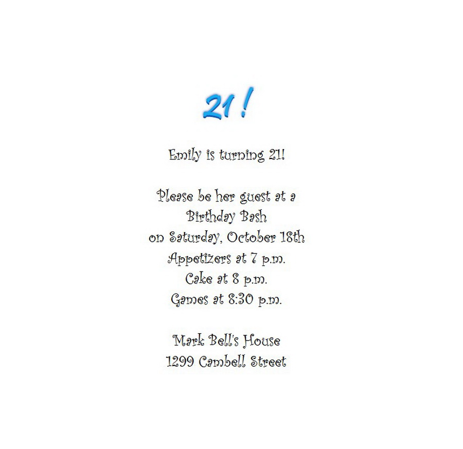 Adult\u0027s 21st Birthday Invitation 5 Wording Free Geographics Word