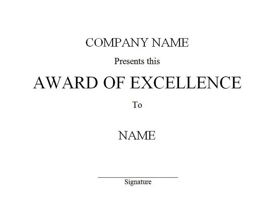 Award of Excellence 1 Free Word Templates Customizable Wording
