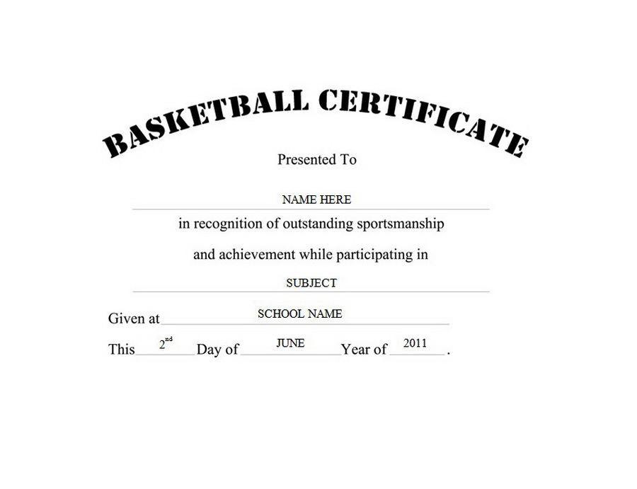 Basketball Certificate Free Templates Clip Art  Wording Geographics - black and white basketball template
