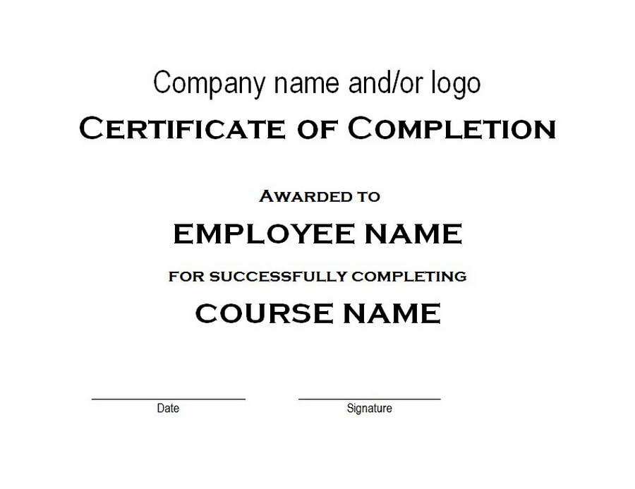 Certificate of Completion Free Word Templates Customizable Wording
