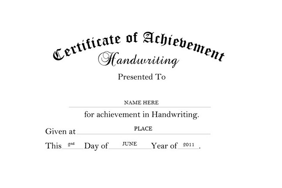 Certificate of Achievement Handwriting Free Templates Clip Art  Wording - blank achievement certificates